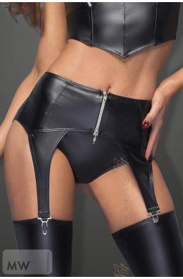 Schwarzer Strapsgürtel mit silbernem Zipper