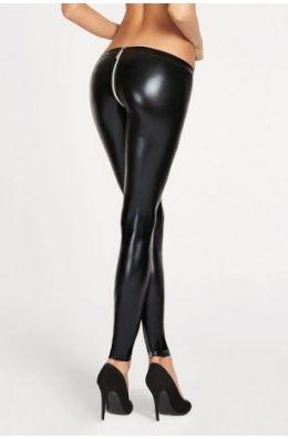 Schwarze Wetlook Leggings
