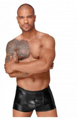 Powerwetlook Shorts mit dekorativen PVC Zierfalten