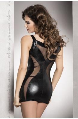 Minikleid Wetlook schwarz | Sexy Leder Optik Wetlook Minikleid