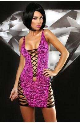 Minikleid im Zebra Look in Schwarz/Pink