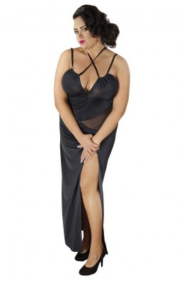 Schwarzes langes Negligee - Plus Size