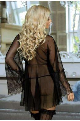 Schwarzes Peignoir | Damenmorgenrock