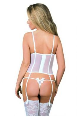 Weiße Straps-Cocrsage von Excellent Beauty