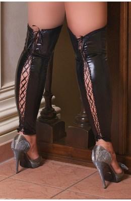 Sexy Beinstulpen aus schwarzen Wetlook mit Schnürung