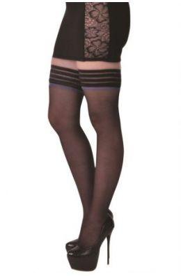 Halterlose schwarze Strümpfe - Angelina