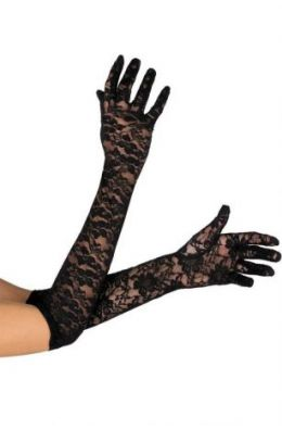 Lange schwarze Handschuhe aus floraler Spitze