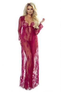 langes Kleid mit Spitze - Weinrot