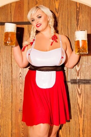 Rot/weißes Trachten Kostüm Heidi von Andalea Dessous