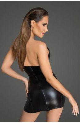 Schwarzes Minikleid aus Powerwetlook und lackiertem Kunstleder