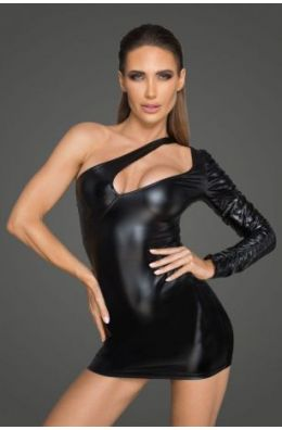 Asymmetrisches Powerwetlook-Minikleid - Schwarz