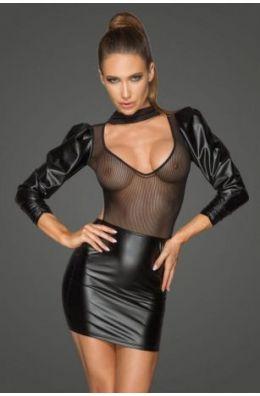 Powerwetlook- und Tüllkleid mit bauschigen Retro-Glamour-Ärmeln