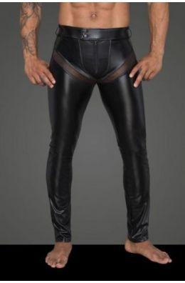 Powerwetlook-Longpants mit Einsätzen und Taschen aus 3D-Netz H059 von Noir Handmade Rebellious Collection