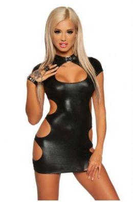 Schwarzes Wetlook-Minikleid