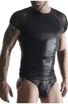 Wetlook T-Shirt in schwarz