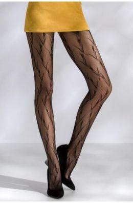 Schwarze Strumpfhose aus Netzmaterial mit einem auffälligem Muster
