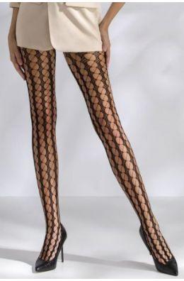 Netzstrumpfhose mit Muster - Schwarz