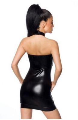 Schwarzes Wetlook-Minikleid von Saresia