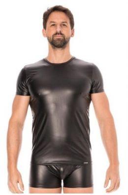 Schwarze Wetlook T-Shirt für Männer
