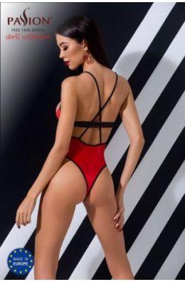 Knalliger roter String-Body mit schwarzer Spitze