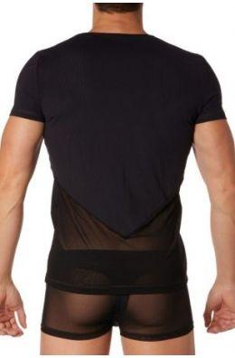 Schwarzes Herren T-Shirt - halbtransparent