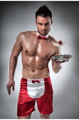 Kellner Outfit - Männershort in Rot/Weiß