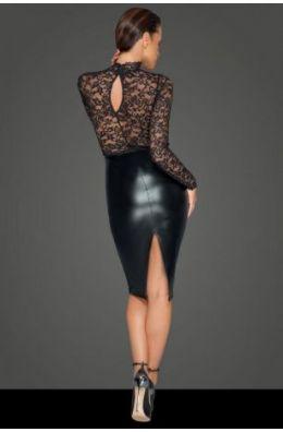 Midi Kleid mit sanfter Spitze - Schwarz