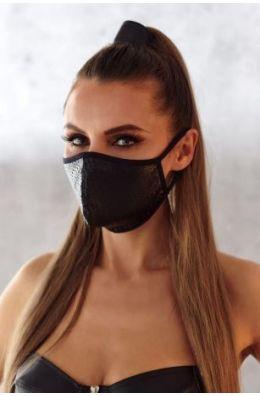 2-lagige Maske mit perforiertem Wetlook und Baumwolle Oeko Tex