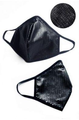 2-lagige Maske aus perforiertem Kunstleder im Wetlook - Baumwolle Oeko Tex