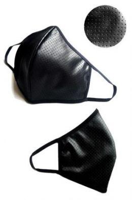 2-lagige Maske aus dezent perforiertem Kunstleder im Wetlook - Baumwolle Oeko Tex