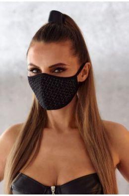 2-lagige Maske mit dekorativem Netz und Baumwolle Oeko Tex